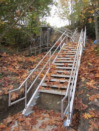 Work Continues On Final Bracing And Platform Treads For The Sunray Staircase.  Once This Is Complete, The City Will Complete A Path To The Beach And Any  ...